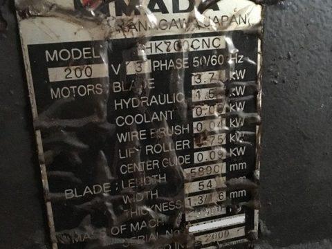 【中古機械案内】バンドソー/アマダ/HK-700CNC/2000の写真05